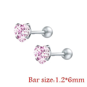 Round Crystal Studs Earrings Screw Ball Stainless Steel - Pink Heart / 3Mm - Child Children Earrings Stainless Steel Studs Loan Usa