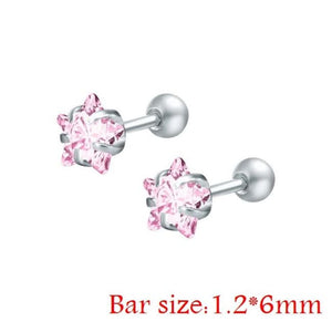 Round Crystal Studs Earrings Screw Ball Stainless Steel - Pink Star / 3Mm - Child Children Earrings Stainless Steel Studs Loan Usa