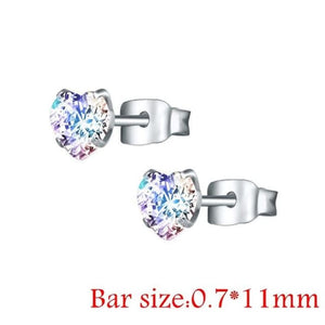 Round Crystal Studs Earrings Screw Ball Stainless Steel - Style 2 Ab Heart / 3Mm - Child Children Earrings Stainless Steel Studs Loan Usa