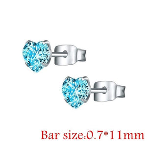 Round Crystal Studs Earrings Screw Ball Stainless Steel - Style 2 Blue Heart / 3Mm - Child Children Earrings Stainless Steel Studs Loan Usa