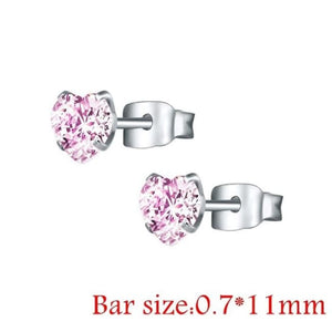 Round Crystal Studs Earrings Screw Ball Stainless Steel - Style 2 Pink Heart / 3Mm - Child Children Earrings Stainless Steel Studs Loan Usa
