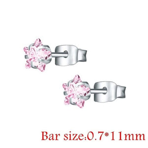 Round Crystal Studs Earrings Screw Ball Stainless Steel - Style 2 Pink Star / 3Mm - Child Children Earrings Stainless Steel Studs Loan Usa
