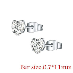 Round Crystal Studs Earrings Screw Ball Stainless Steel - Style 2 White Heart / 3Mm - Child Children Earrings Stainless Steel Studs Loan Usa