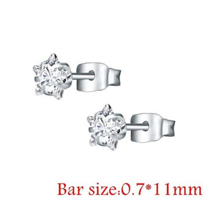 Round Crystal Studs Earrings Screw Ball Stainless Steel - Style 2 White Star / 3Mm - Child Children Earrings Stainless Steel Studs Loan Usa
