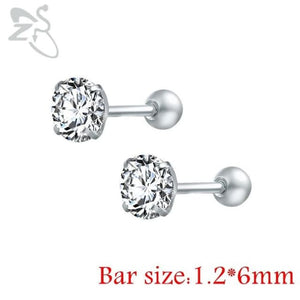 Round Crystal Studs Earrings Screw Ball Stainless Steel - White Round / 3Mm - Child Children Earrings Stainless Steel Studs Loan Usa