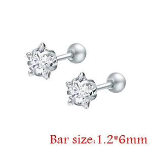 Round Crystal Studs Earrings Screw Ball Stainless Steel - White Star / 3Mm - Child Children Earrings Stainless Steel Studs Loan Usa