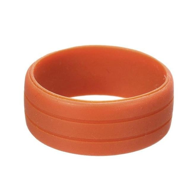 Size 7-12 Silicone Rubber Wedding Engagement Ring - 7 / Orange Red - Crossfit Engagment Exercise Flexible Wedding Band Loan Usa