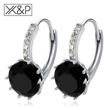 Load image into Gallery viewer, X&p Fashion Charm Geometry Flower Stud Earrings For Women Girl Korean Style Round Cubic Zircon Earring Jewelry Gift - Black - Cz Studs