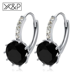 X&p Fashion Charm Geometry Flower Stud Earrings For Women Girl Korean Style Round Cubic Zircon Earring Jewelry Gift - Black - Cz Studs
