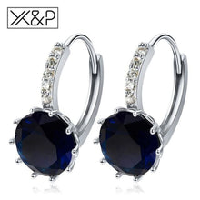 Load image into Gallery viewer, X&p Fashion Charm Geometry Flower Stud Earrings For Women Girl Korean Style Round Cubic Zircon Earring Jewelry Gift - Blue - Cz Studs