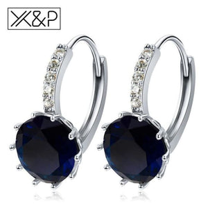 X&p Fashion Charm Geometry Flower Stud Earrings For Women Girl Korean Style Round Cubic Zircon Earring Jewelry Gift - Blue - Cz Studs