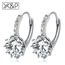 Load image into Gallery viewer, X&p Fashion Charm Geometry Flower Stud Earrings For Women Girl Korean Style Round Cubic Zircon Earring Jewelry Gift - Cz Studs Fashion