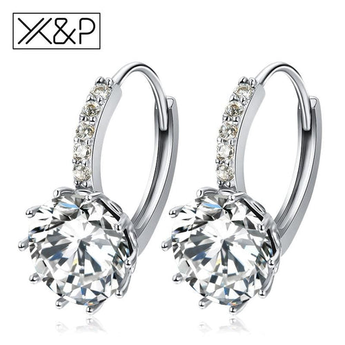 X&p Fashion Charm Geometry Flower Stud Earrings For Women Girl Korean Style Round Cubic Zircon Earring Jewelry Gift - Cz Studs Fashion