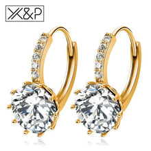 Load image into Gallery viewer, X&p Fashion Charm Geometry Flower Stud Earrings For Women Girl Korean Style Round Cubic Zircon Earring Jewelry Gift - Gold White - Cz Studs