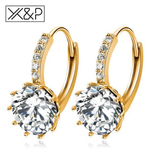 X&p Fashion Charm Geometry Flower Stud Earrings For Women Girl Korean Style Round Cubic Zircon Earring Jewelry Gift - Gold White - Cz Studs
