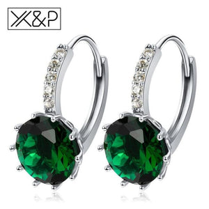 X&p Fashion Charm Geometry Flower Stud Earrings For Women Girl Korean Style Round Cubic Zircon Earring Jewelry Gift - Green - Cz Studs