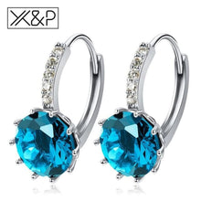 Load image into Gallery viewer, X&p Fashion Charm Geometry Flower Stud Earrings For Women Girl Korean Style Round Cubic Zircon Earring Jewelry Gift - Light Blue - Cz Studs