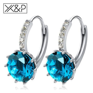 X&p Fashion Charm Geometry Flower Stud Earrings For Women Girl Korean Style Round Cubic Zircon Earring Jewelry Gift - Light Blue - Cz Studs