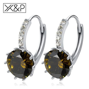 X&p Fashion Charm Geometry Flower Stud Earrings For Women Girl Korean Style Round Cubic Zircon Earring Jewelry Gift - Olive Green - Cz Studs