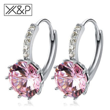 Load image into Gallery viewer, X&p Fashion Charm Geometry Flower Stud Earrings For Women Girl Korean Style Round Cubic Zircon Earring Jewelry Gift - Pink - Cz Studs