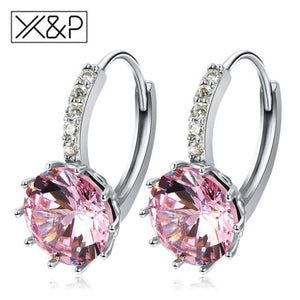 X&p Fashion Charm Geometry Flower Stud Earrings For Women Girl Korean Style Round Cubic Zircon Earring Jewelry Gift - Pink - Cz Studs