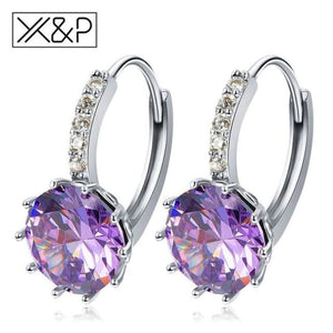 X&p Fashion Charm Geometry Flower Stud Earrings For Women Girl Korean Style Round Cubic Zircon Earring Jewelry Gift - Purple - Cz Studs