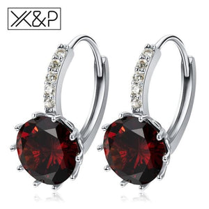 X&p Fashion Charm Geometry Flower Stud Earrings For Women Girl Korean Style Round Cubic Zircon Earring Jewelry Gift - Red - Cz Studs Fashion
