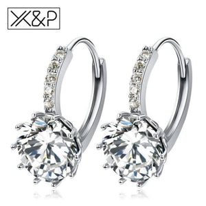 X&p Fashion Charm Geometry Flower Stud Earrings For Women Girl Korean Style Round Cubic Zircon Earring Jewelry Gift - White - Cz Studs