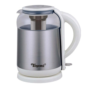 TOYOMI 1.8L Electric Glass Kettle with SS Tea Infuser WK 3362