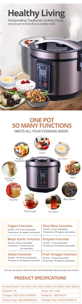 TOYOMI 5.0L Micro-com Multi Healthy Fermentation Pot (Black Garlic Maker) BGM 8810