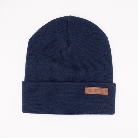 You Betcha Leather Patch Beanie