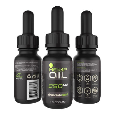 Wellicy 250mg Chocolate Mint CBD Hemp & MCT Oil Tincture
