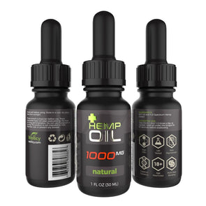 Wellicy 1000mg Natural CBD Hemp & MCT Oil Tincture