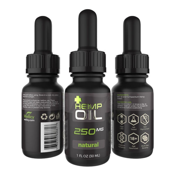 Wellicy 250mg Natural CBD Hemp & MCT Oil Tincture