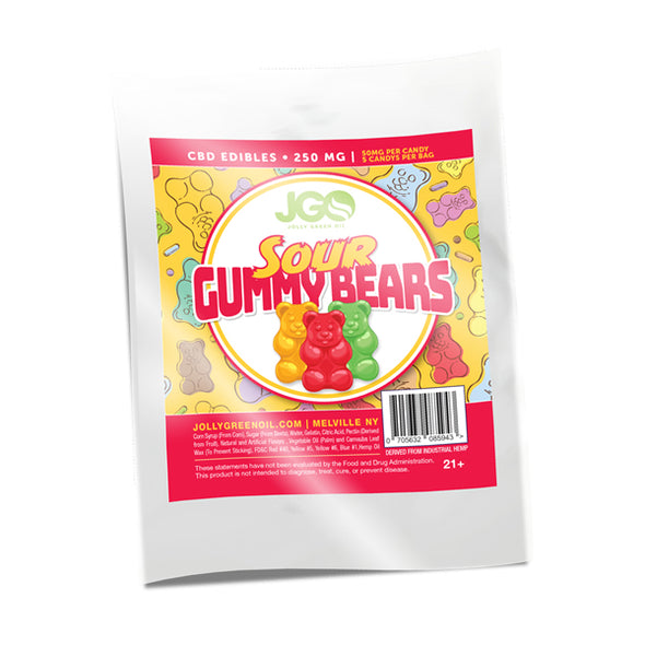 JGO 250mg Sour Gummy Bears CBD INFUSED