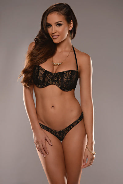 Black Lace Balconette Underwire Top