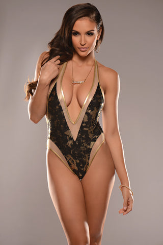 Trophy Wife One Piece with Gold Mesh