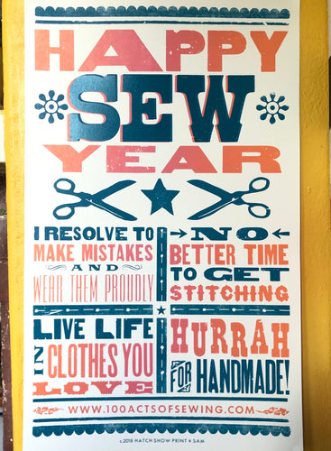 100 Acts of Sewing - Happy Sew Year Poster