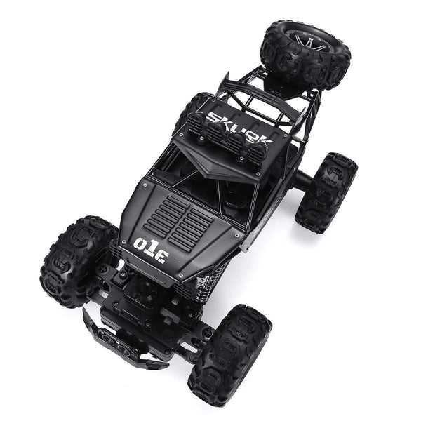 1/10 2.4G 4WD 42CM Alloy Crawler RC Car Big Foot Off-road Vehicle Models W/ Light Double Motor - Black - RC Cars Store