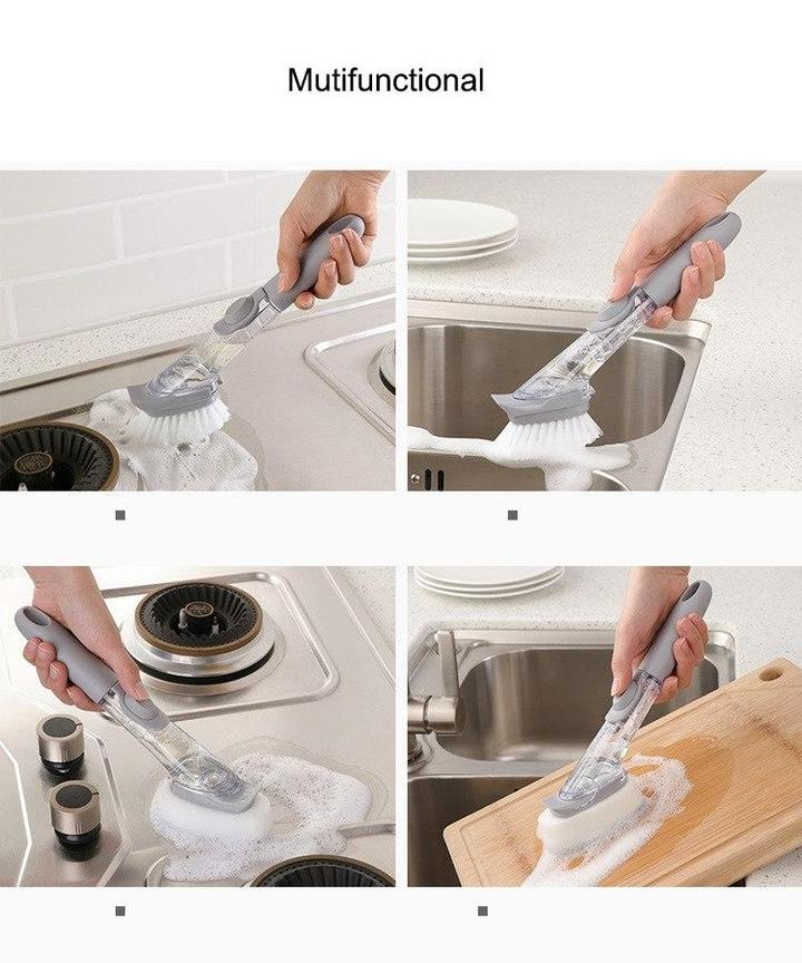 Long Handle Pot Brush Dish Brush Soap Dispenser Antibacterial Kitchen Sink Scrubber