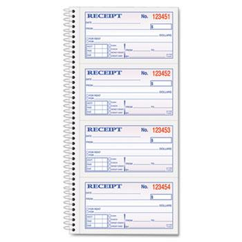 TOPS™ Money/Rent Receipt Spiral Book, 2-3/4 x 4 3/4, 2-Part Carbonless, 200 Sets/Book