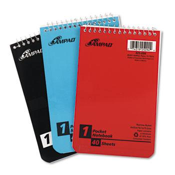Ampad™ Wirebound Pocket Memo Book, Narrow, 4 x 6, White, 40 Sheets, 3 Pads/Pack