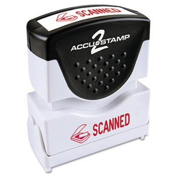 ACCUSTAMP2® Pre-Inked Shutter Stamp with Microban, Red, SCANNED, 1 5/8 x 1/2