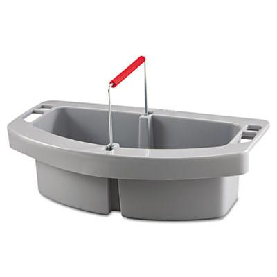 "Rubbermaid Commercial RCP 2649 GRA Maid Caddy, 2-Comp, 16"" Width x 9"" Depth x 5"" Height, Gray"