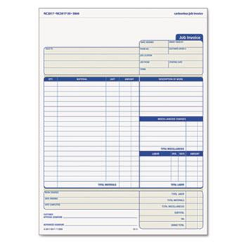 TOPS™ Snap-Off Job Invoice Form, 8 1/2 x 11 5/8, Three-Part Carbonless, 50 Forms