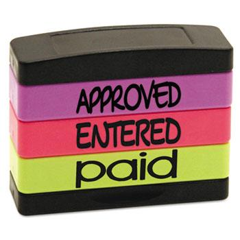 Stack Stamp® Stack Stamp, APPROVED, ENTERED, PAID, 1 13/16 x 5/8, Assorted Fluorescent Ink