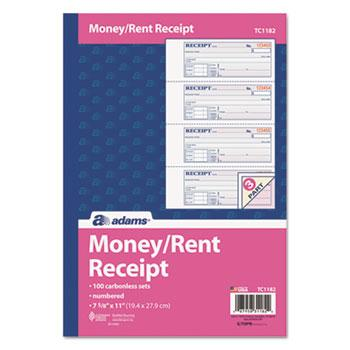 Adams® Receipt Book, 7 5/8 x 11, Three-Part Carbonless, 100 Forms