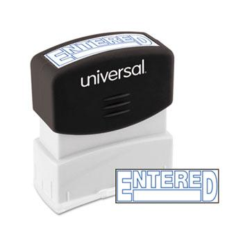 Universal® Message Stamp, ENTERED, Pre-Inked One-Color, Blue