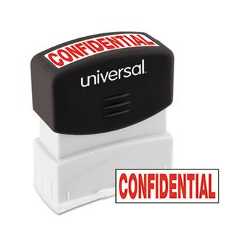 Universal® Message Stamp, CONFIDENTIAL, Pre-Inked One-Color, Red