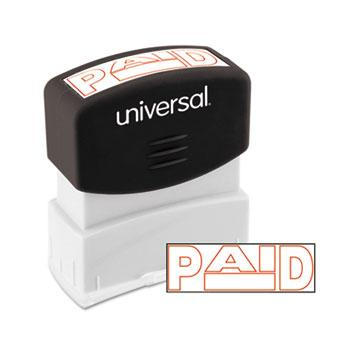 Universal® Message Stamp, PAID, Pre-Inked One-Color, Red
